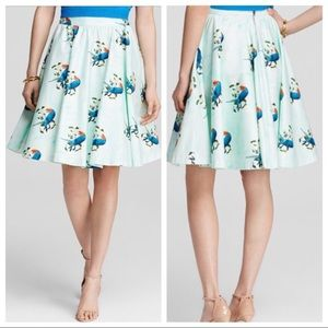 Alice + Olivia Earla Bird Print Skirt